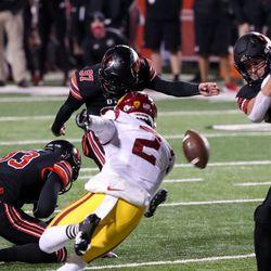 Utah Utes place kicker Jadon Redding (97) kicks a field goal, putting the Utes up 3-0 over the USC Trojans, at Rice-Eccles Stadium in Salt Lake City on Saturday, Nov. 21, 2020.