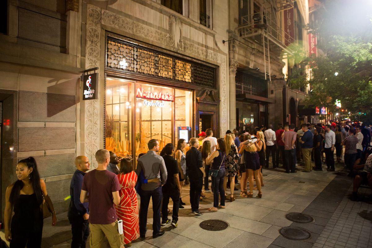 A line out the door of Eighteenth Street Lounge in 2015
