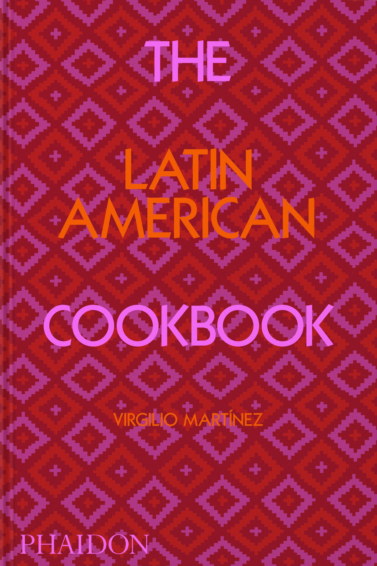 """An abstract cookbook cover with a red and pink pattern and the words """"The Latin American Cookbook"""""""
