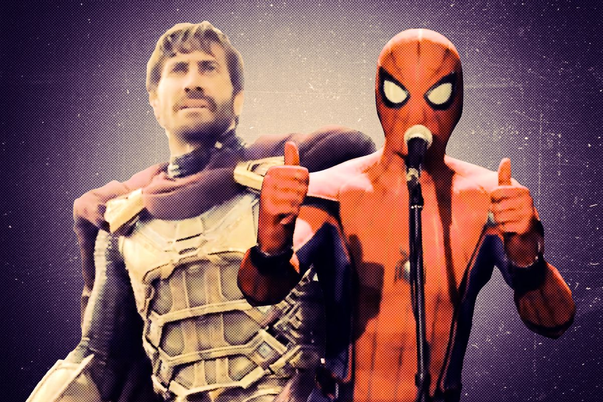 Jake Gyllenhaal's Mysterio and Tom Hardy's Spider-Man in a preview of 'Spider-Man: Far From Home'