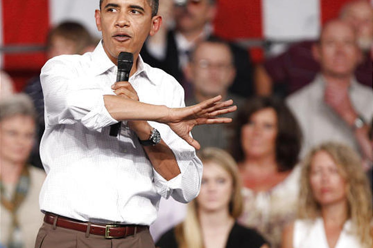 """President Barack Obama talks about health care during a town hall meeting in Grand Junction, Colo. Obama's weekend concession on a health care """"government option"""" drew complaints from liberals and scarce interest from Republicans and other critics on Mond"""