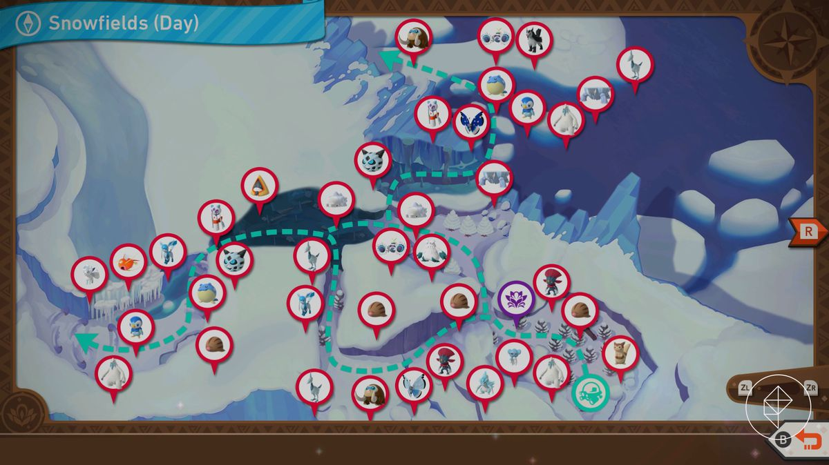 A map showing the routes in Shiver Snowfields during the day