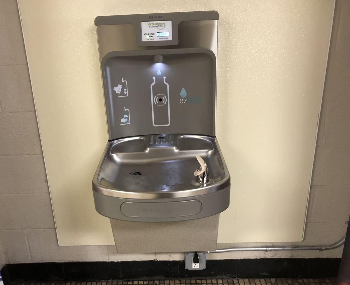 One of the water hydration stations at Marcus Garvey Academy in the Detroit school district.