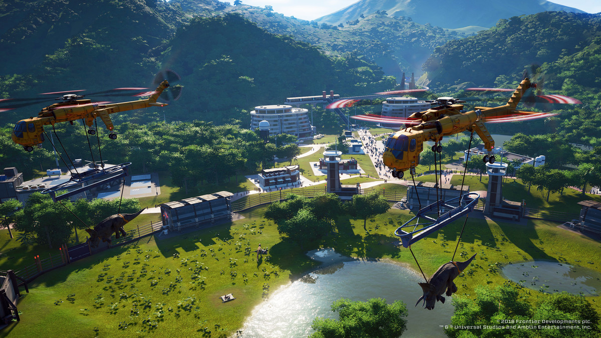 Jurassic World Evolution - two helicopters