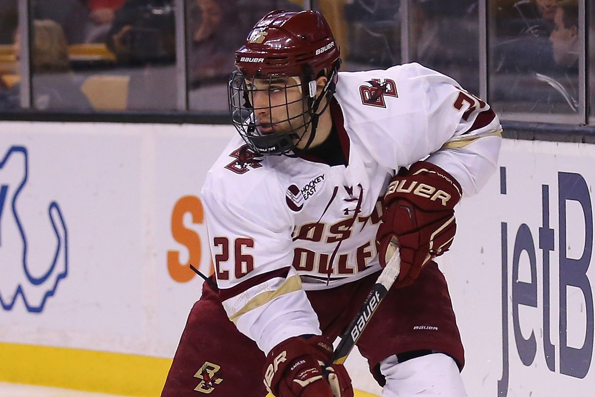 Austin Cangelosi scored twice for Boston College, including the game-winner 12 seconds into the game.