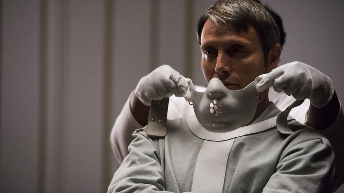 The famous mask goes on Hannibal Lecter's face.
