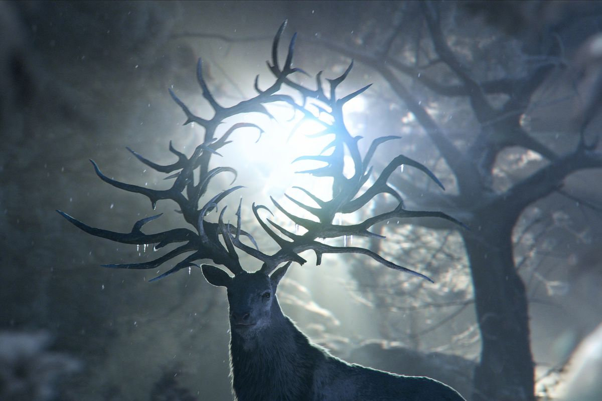 A stag with elaborate antlers in front of trees and an eerie glow.