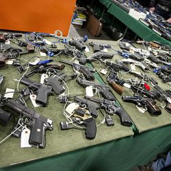 With well over a thousand gun enthusiasts in attendance at the South Towne Expo Center during the 2013 Rocky Mountain Gun Show, weapons were well-displayed for potential buyers , Saturday, Jan. 5, 2013.