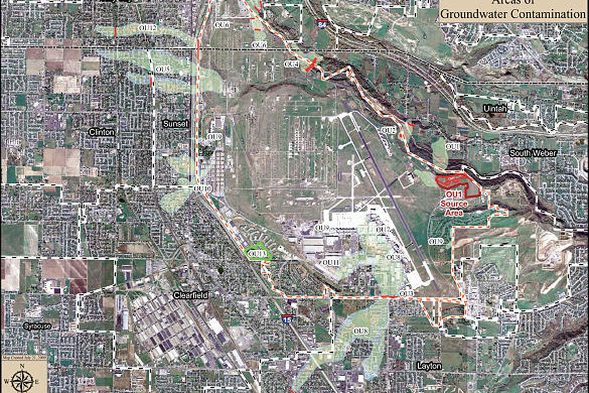 Map from Hill Air Force Base shows contaminated areas  in Davis and Weber counties and on the base itself.