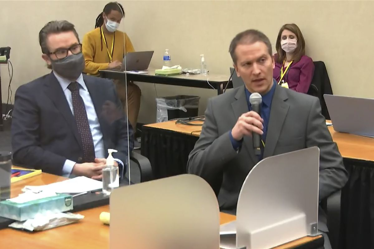 In this image from video, defense attorney Eric Nelson, left, and defendant, former Minneapolis police officer Derek Chauvin address Hennepin County Judge PeterCahill during motions before the court Thursday, April 15, 2021, in the trial of Chauvin, at the Hennepin County Courthouse in Minneapolis.