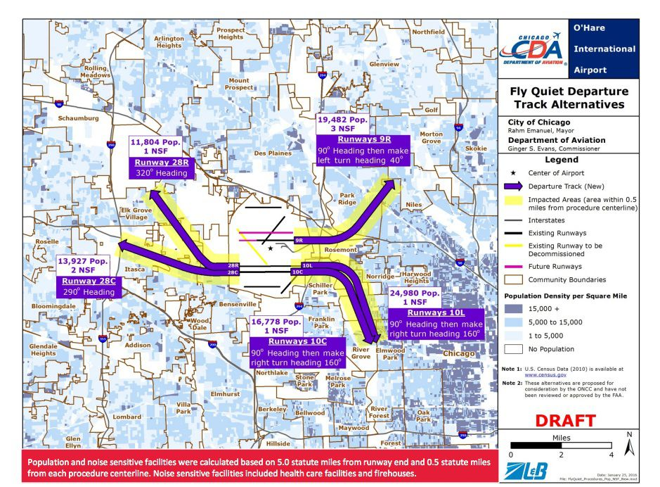 Five new night flight paths for departing O'Hare jets as proposed by the city. Source: Chicago Aviation Department