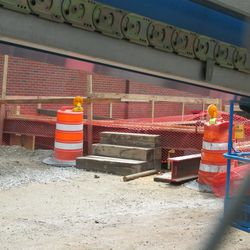 2:49 p.m. Utility excavation on Waveland, behind the left-field video board -