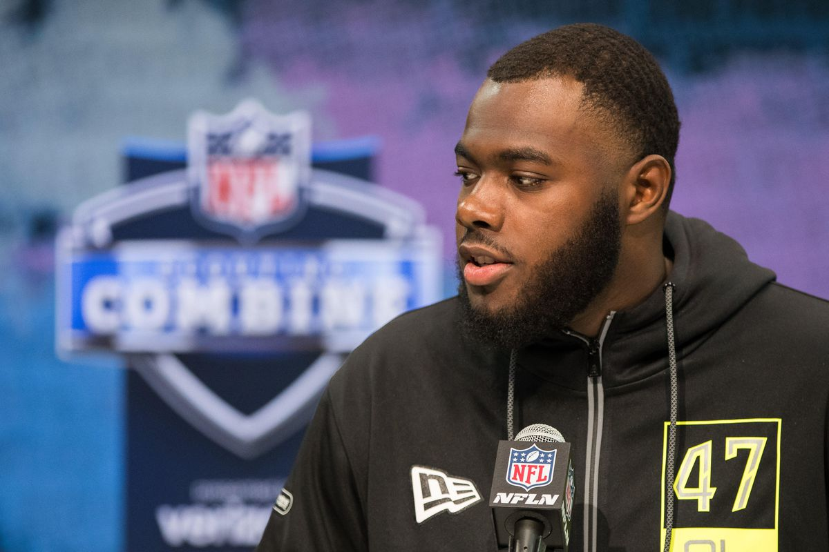 Georgia offensive lineman Andrew Thomas speaks to the media during the 2020 NFL Combine in the Indianapolis Convention Center.