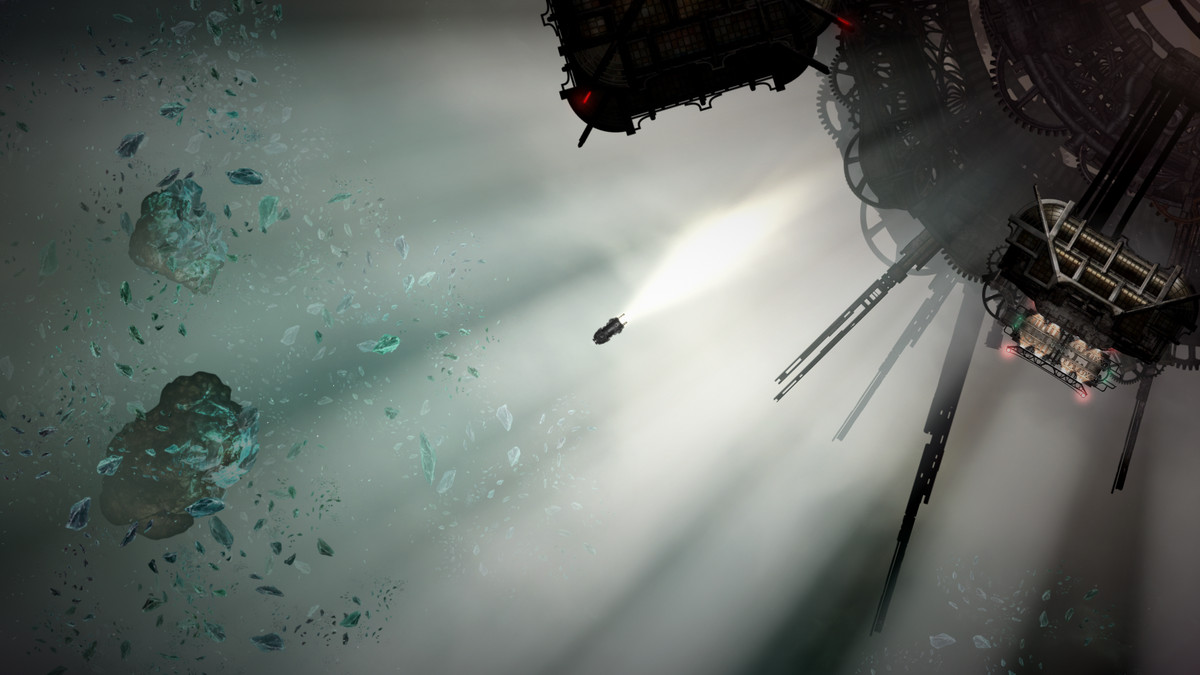 Sunless Skies - a vessel explores the skies, approaching a structure.