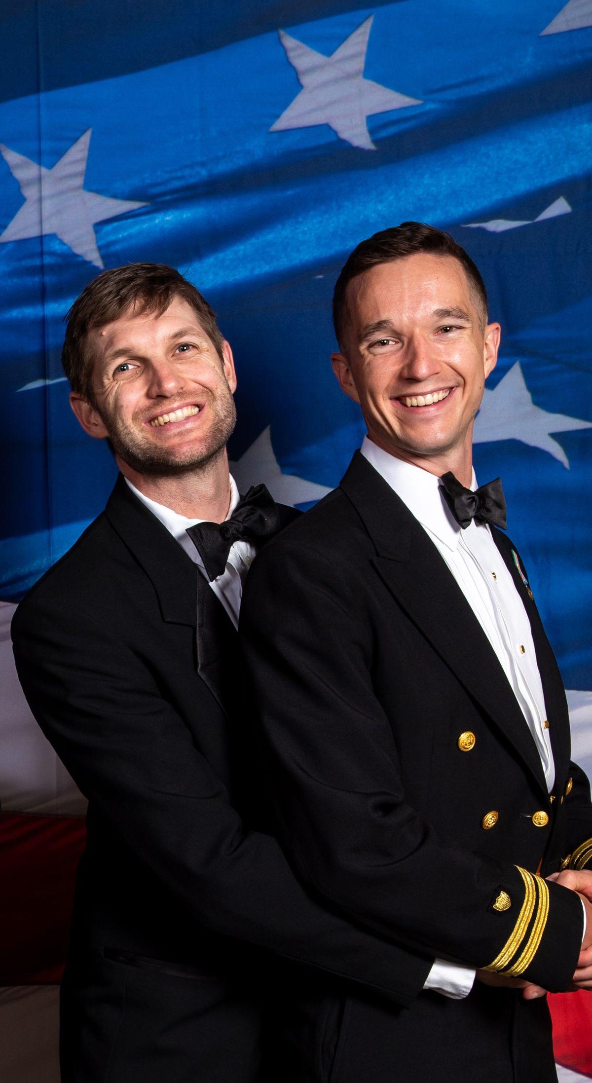 John Olbrys with boyfriend Dave Payne at the Coast Guard ball.