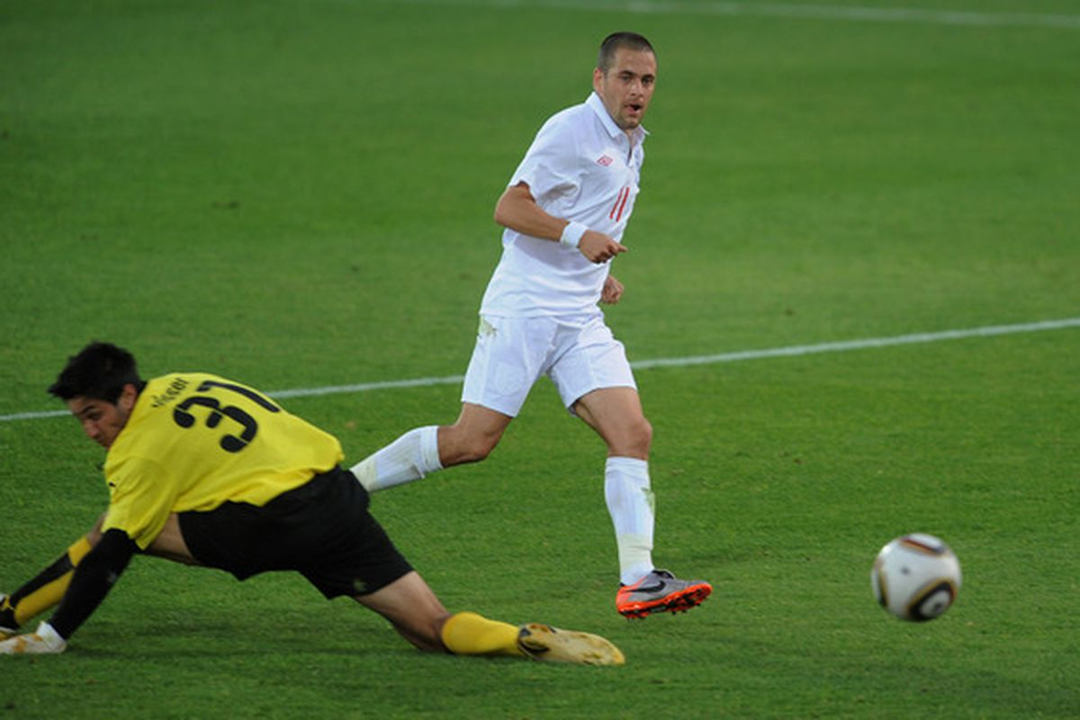 MORULENG, SOUTH AFRICA - JUNE 07:  Joe Cole of England scores a goal during the friendly match between England and Platinum Stars at the Moruleng Stadium on June 7, 2010 in Moruleng, South Africa.  (Photo by Michael Regan/Getty Images)