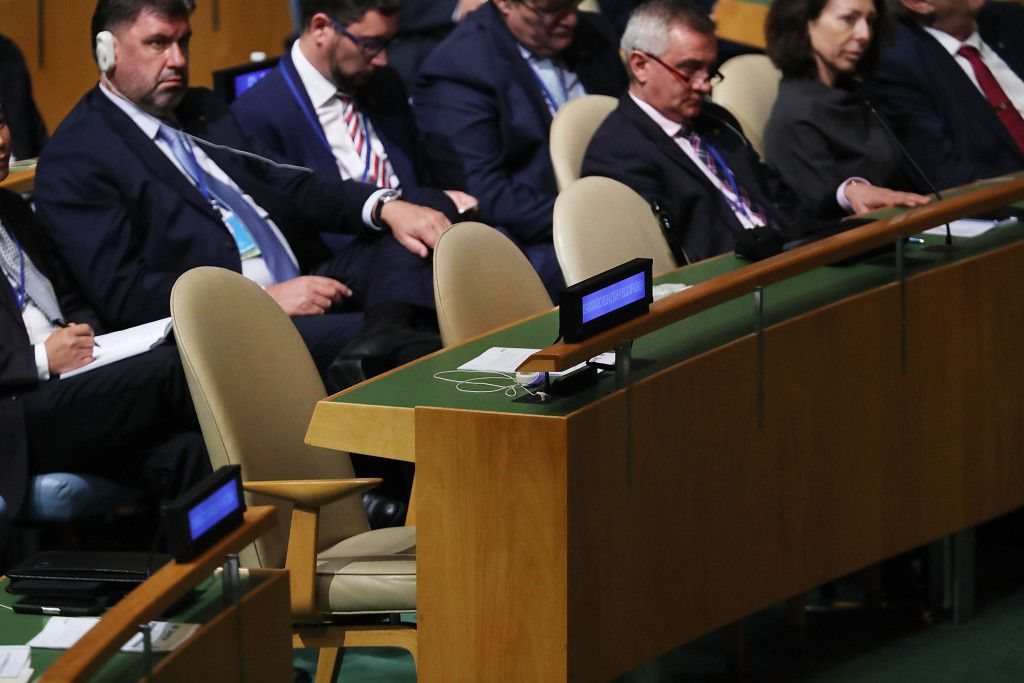 The North Korean delegation's seats stand empty as President Donald Trump speaks to world leaders at the 72nd United Nations (UN) General Assembly at UN headquarters in New York on Tuesday in New York City. | Spencer Platt/Getty Images
