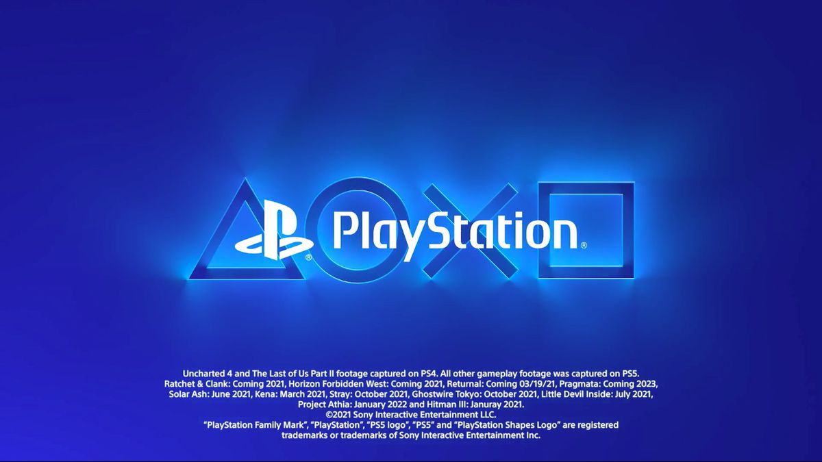Screenshot of the PlayStation logo and release date of the PS5 game in the Sony CES 2021 theme video