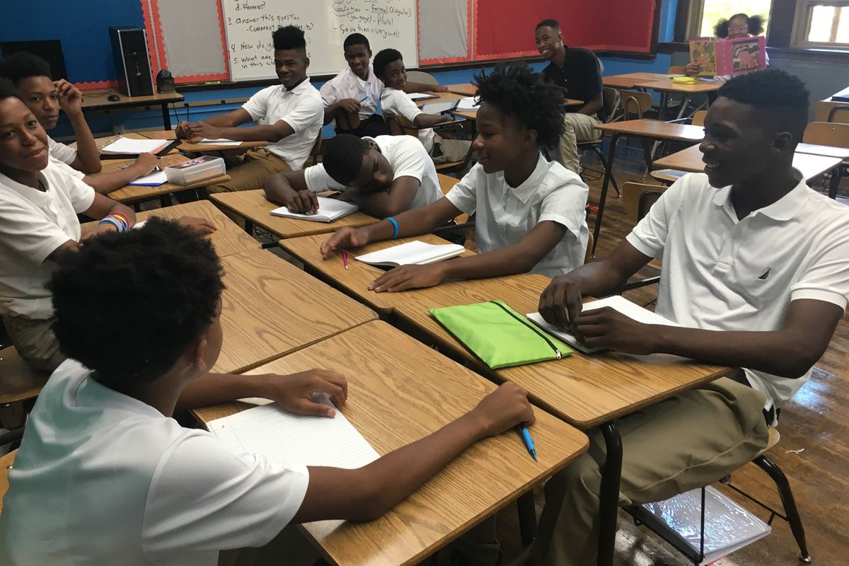 Middle schoolers at Golightly Education Center. The 99-year-old building needs more than $5 million in repairs.