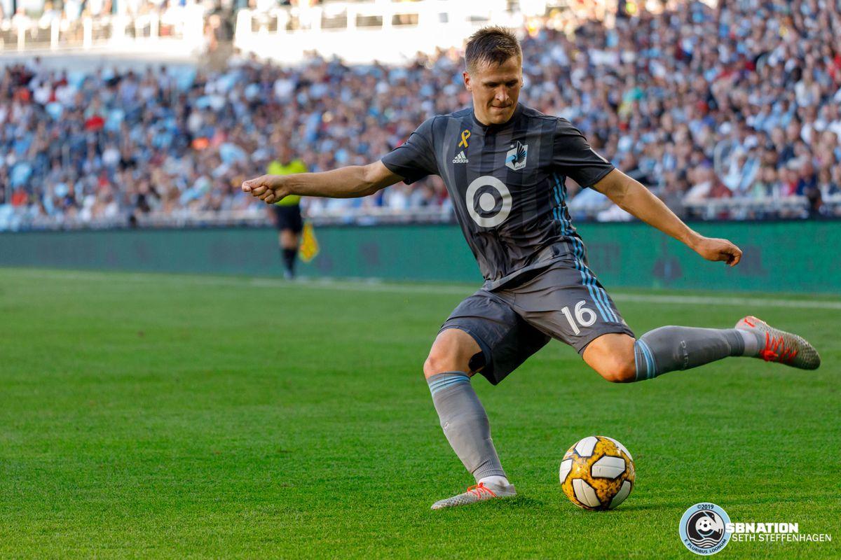September 15, 2019 - Saint Paul, Minnesota, United States - Minnesota United midfielder Robin Lod (16) crosses the ball during the match against Real Salt Lake at Allianz Field.