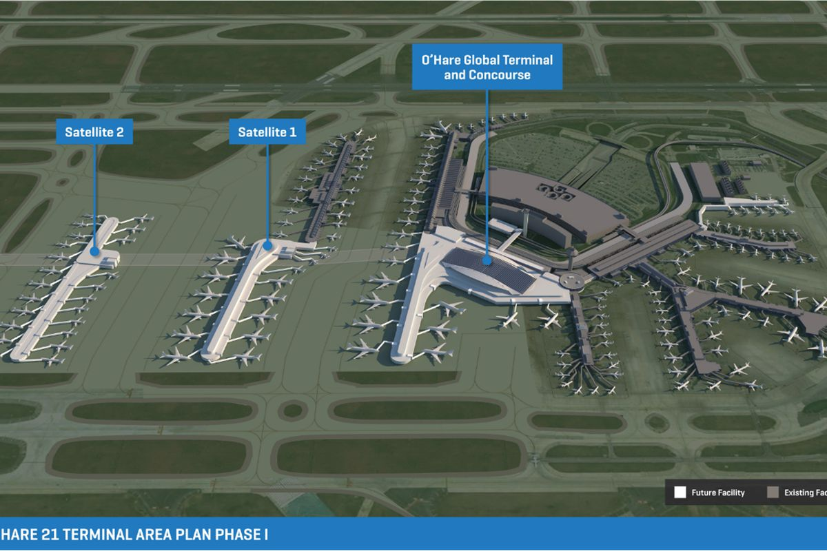 Diagram of new terminal and satellite concourses planned at O'Hare International Airport.