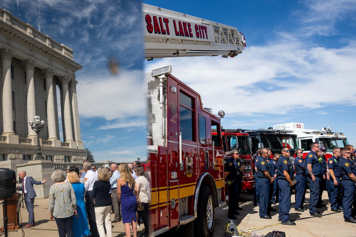 Gov. Spencer Cox, reflected at left in a firetruck, urges Utahns not to use personal fireworks due to the state's exceptional drought during a press conference at the Capitol in Salt Lake City on Wednesday, June 30, 2021.