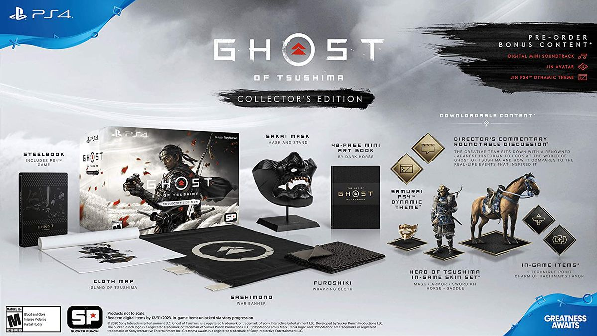 Components of the Ghost of Tsushima Collector's Edition