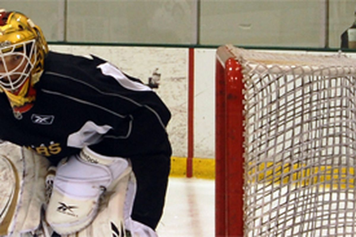 Tyler Beskorowany underwent 2 separate goaltender practices, practice with the players, and a scrimmage on Sunday.