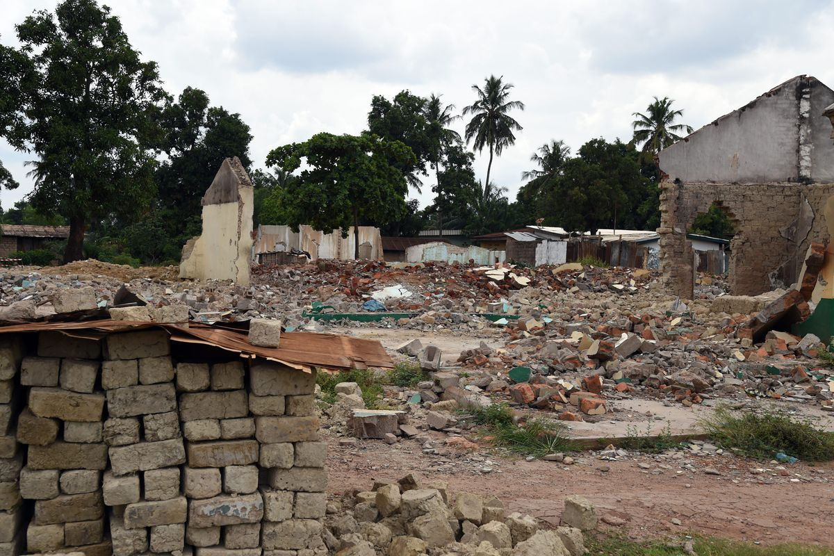 The remains of a mosque in Bangui that was destroyed by the Anti-Balaka