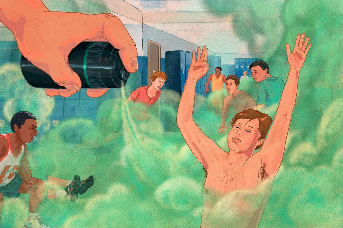 An illustration of a large hand spraying a cloud of scent onto boys in a school locker room.