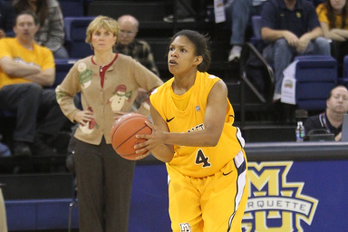 Arlesia Morse gets ready to rain points from long distance as coach Terri Mitchell looks on.