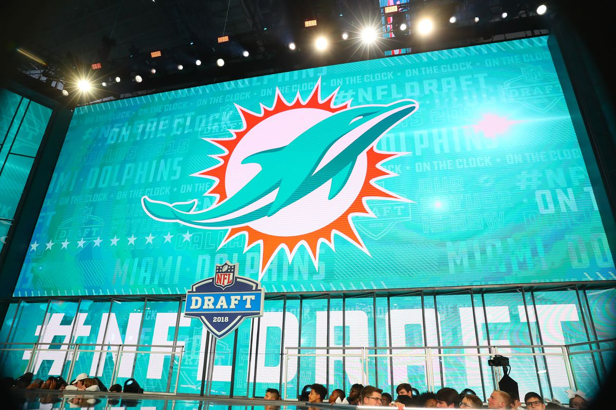 The Miami Dolphins logo on the video board during the first round at the 2018 NFL Draft at AT&T Statium on April 26, 2018 at AT&T Stadium in Arlington Texas.