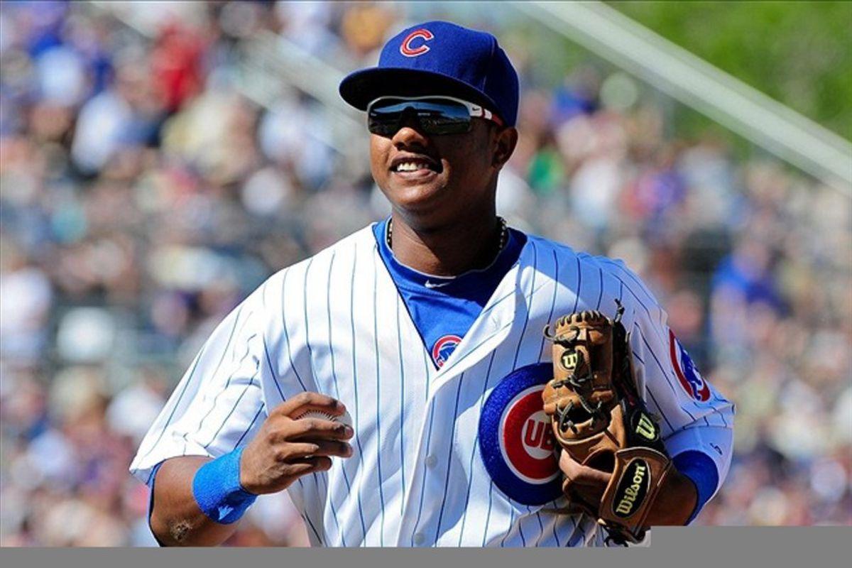 Mesa, AZ, USA; Chicago Cubs shortstop Starlin Castro reacts against the Milwaukee Brewers at HoHoKam Park. Credit: Matt Kartozian-US PRESSWIRE