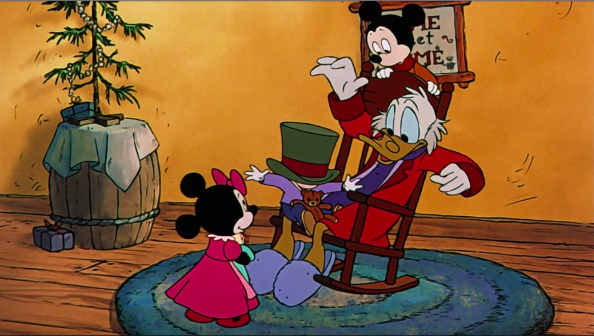 Scrooge gives the Cratchit children gifts in Mickey's Christmas Carol.