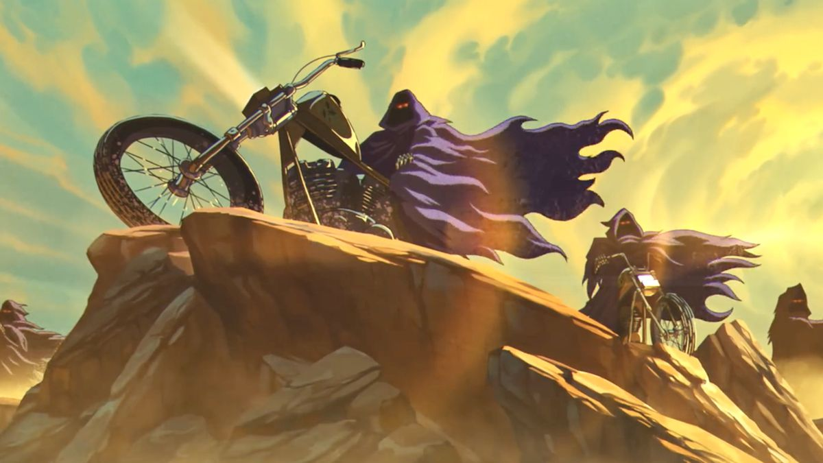 Cloaked nightmare bike riders drive up to a desert cliff's edge while the sun blazes in Iron Maiden's The Writing on the Wall