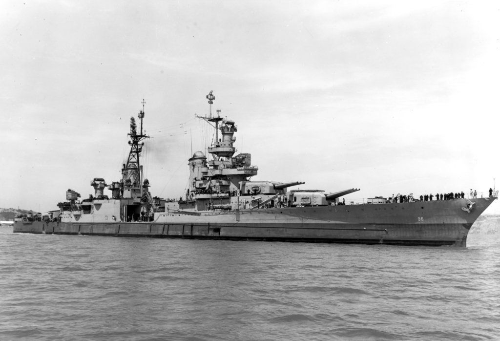 USS Indianapolis is shown off the Mare Island Navy Yard, in Northern California, after her final overhaul and repair of combat damage.   U.S. Navy via AP