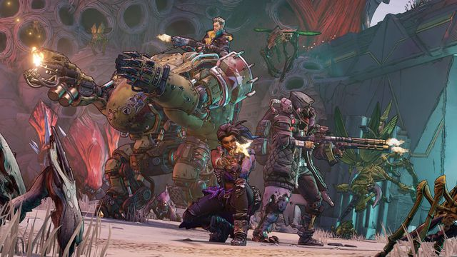 Vault Hunters group up to battle enemies in a screenshot from Borderlands 3