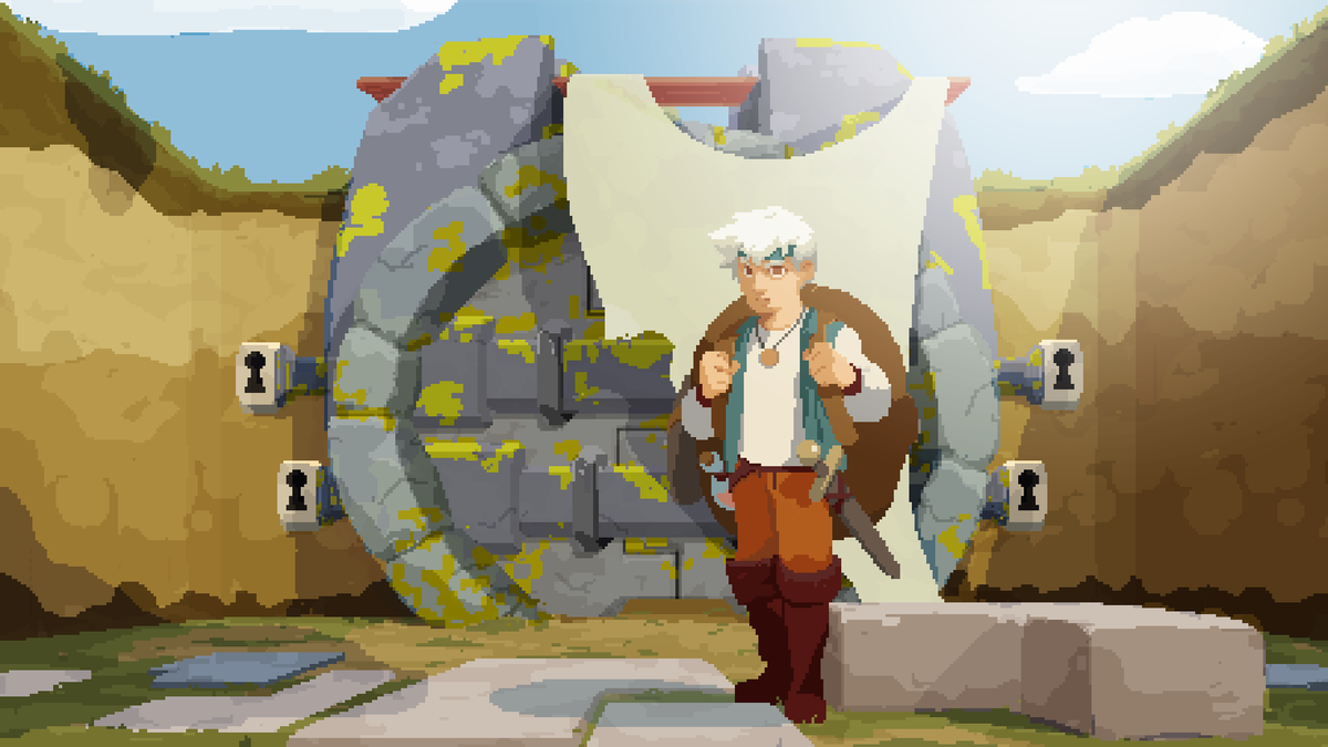 Moonlighter - guy standing in front of door with four locks