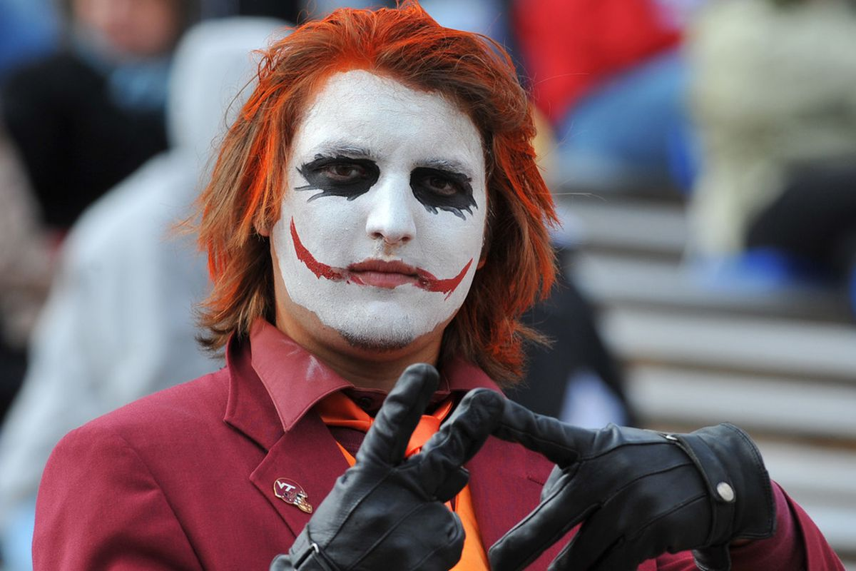 DURHAM, NC - OCTOBER 29:  A fan of the Virginia Tech Hokies watches play against the Duke Blue Devils October 29, 2011 at Wallace Wade Stadium in Durham, North Carolina.The Hokies won 14-10.  (Photo by Al Messerschmidt/Getty Images)