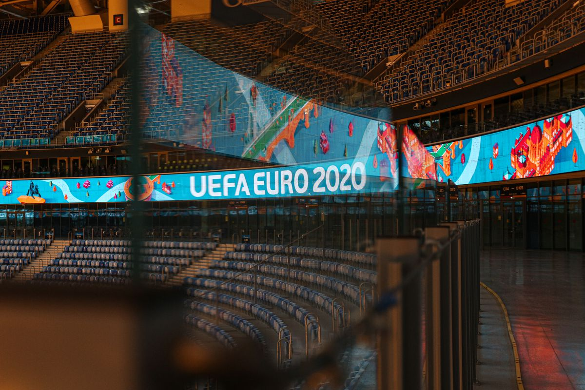 Euro 2020 logo at the Zenit-Arena stadium in St. Petersburg, Russia, on February 11, 2021.