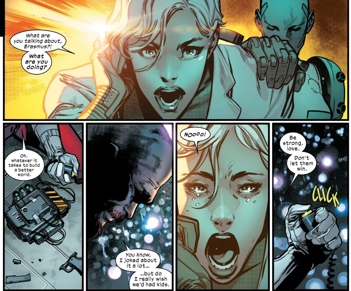 A married anti-mutant scientist couple say frantic goodbyes as he prepares to blow himself up, and the X-Men with him, in House of X #3, Marvel Comics (2019).