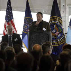 Dr. Harvey Davis, associate director for installations and logistics at the National Security Agency, speaks at the groundbreaking for the first Intelligence Community Comprehensive National Cybersecurity Initiative (CNCI) Data Center at Camp Williams, Utah on Thursday, Jan. 6, 2011.