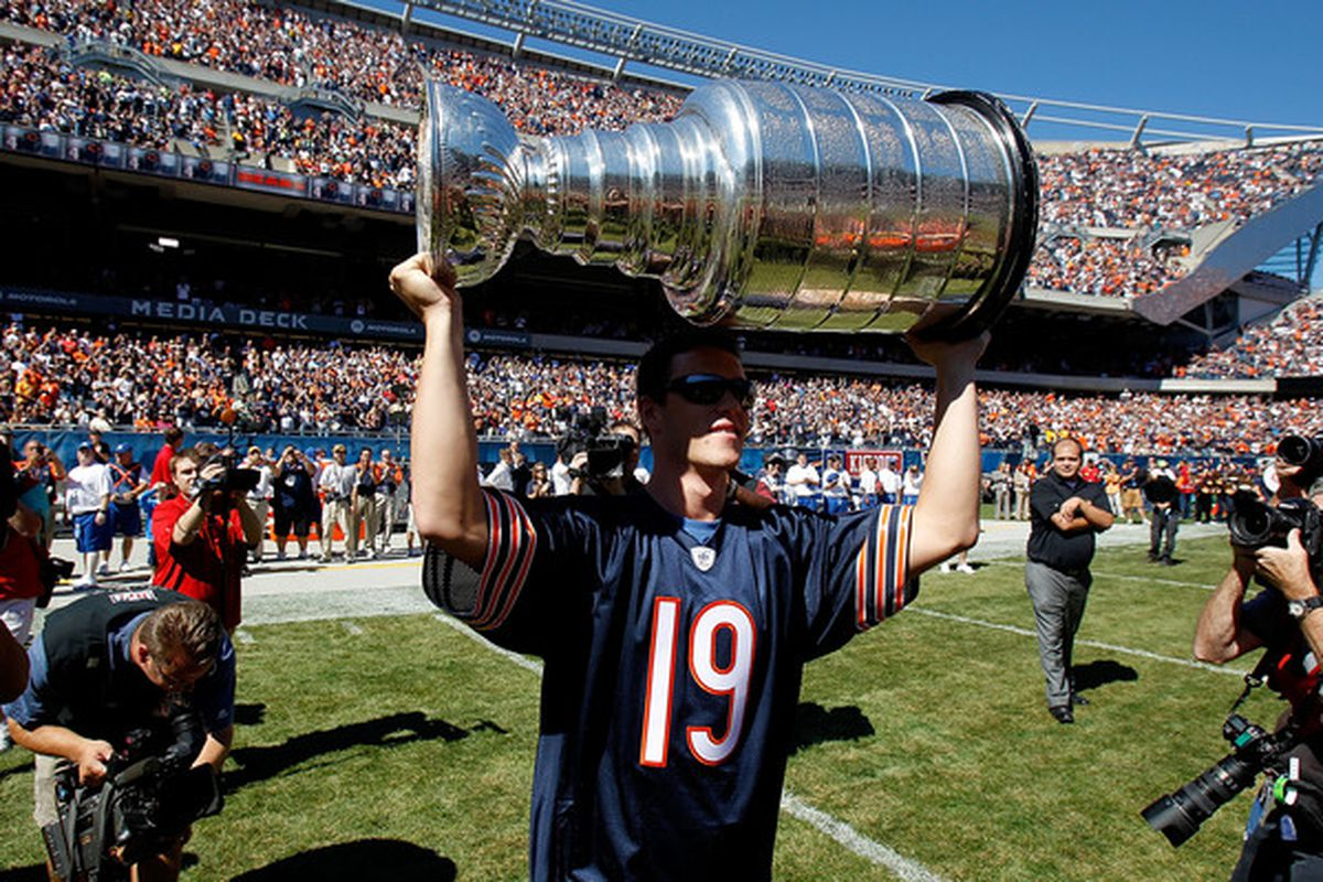 CHICAGO - SEPTEMBER 12: A Chicago athlete actually holding a championship trophy, what a novel concept. (Photo by Jonathan Daniel/Getty Images)