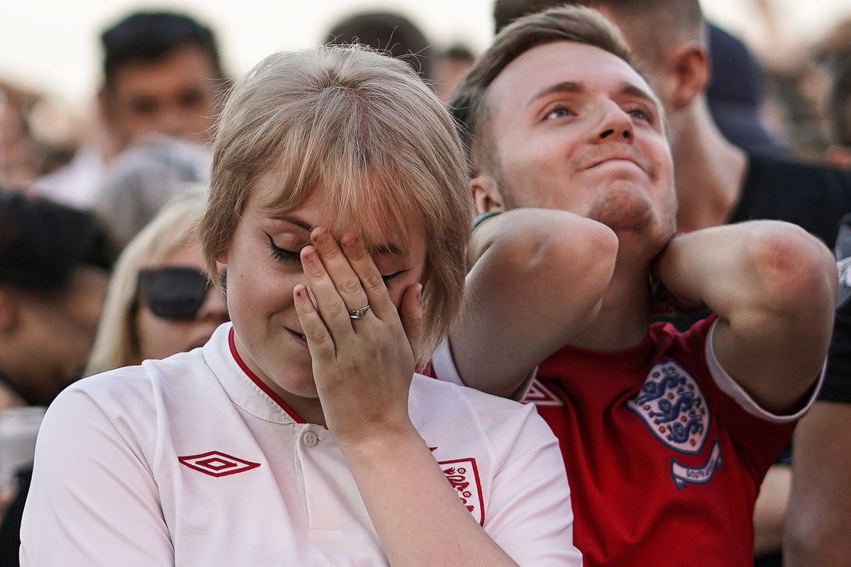 Football fans gather to see England Play Croatia for a World Cup Final