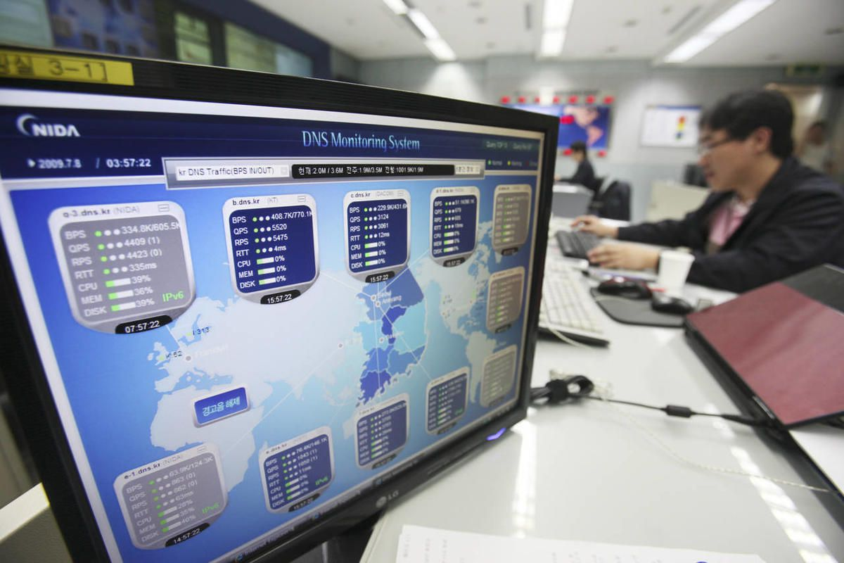 An employee of Korea Internet Security Center works at a monitoring room in Seoul, South Korea, Wednesday, July 8, 2009. South Korean intelligence authorities believe that North Korea or pro-Pyongyang forces in South Korea committed cyber attacks that par