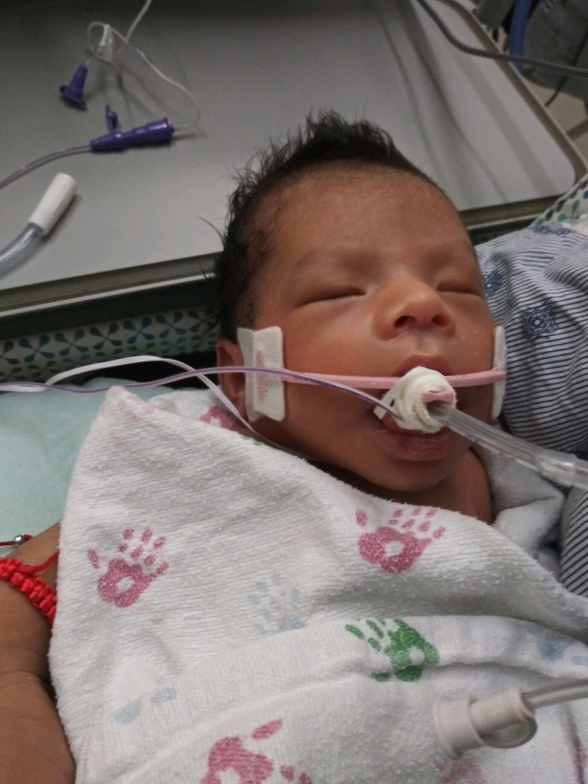 The baby of Yovani Lopez and Marlen Ochoa-Lopez on Sunday at Christ Medical Center.