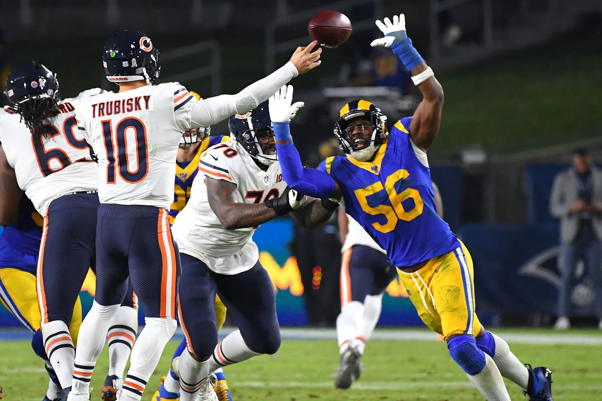 Bears quarterback Mitch Trubisky throws under pressure against the Rams on Sunday night.