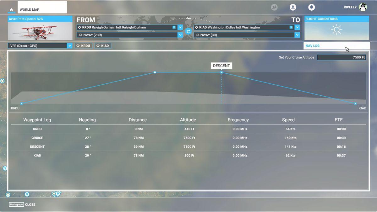 Microsoft Flight Simulator flight plan Nav Log