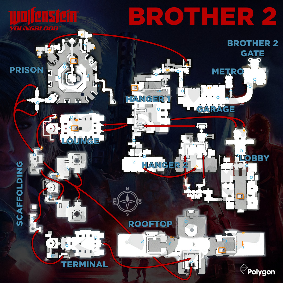 Wolfenstein: Youngblood Brother 2 map with Readable collectible locations