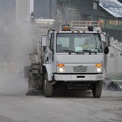 Street sweeping truck on Waveland